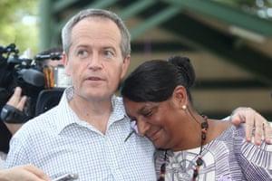 Bill Shorten hugs Senator Nova Peris