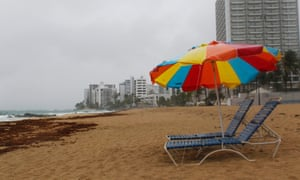 Beach chairs are seen at a beach as hurricane Irma approaches Puerto Rico in San Juan, on September 5, 2017. In Puerto Rico, a US territory of 3.5 million, Governor Ricardo Rossello activated the National Guard and announced the opening of storm shelters able to house up to 62,000 people. The major of the Puerto Rican capital San Juan, Carmen Yulin Cruz Soto, ordered 900 municipal employees -- police, emergency personnel, and aid and social workers -- to report for rotating 12-hour shifts.