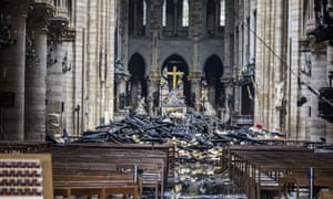 Debris inside Notre Dame Cathedral after a fire