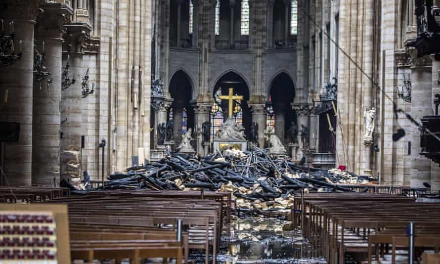 Debris inside Notre Dame Cathedral after a fire