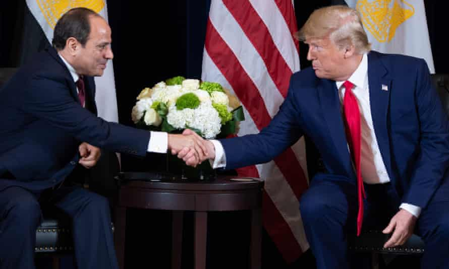 Former US president Donald Trump shakes hands with Abdel-Fatah al Sisi during a meeting on the sidelines of the UN General Assembly in New York, 23 September 2019.