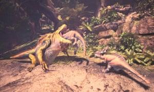 A great jagras devours an aptonoth in Monster Hunter: World