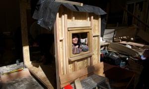 Student Maryam enjoying the tiny house