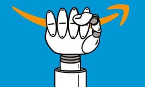 Robot hand grasping Amazon symbol