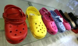 Crocs on display in a shop