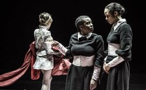 Laura Carmichael, Uzo Aduba and Zawe Ashton in The Maids.