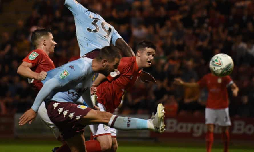 Conor Hourihane heads home his second goal and Aston Villa's third goal in their 6-1 win over Crewe.