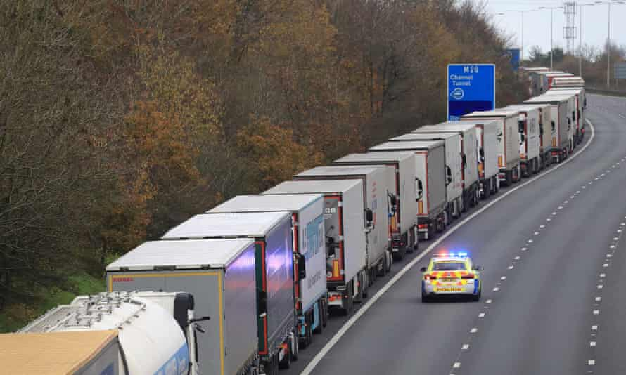 Freight lorries queueing along the M20 in Kent waiting to access the Eurotunnel terminal in Folkestone.