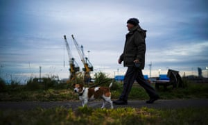 A walk by the port: 'Workington Man' is a Leave-voting over 45-year-old seen as key to the election result in December.