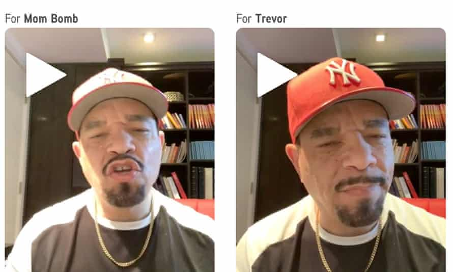 Ice T, the rapper and star of Law and Order, appears in a series of shout-out videos on the Cameo website