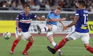 Kevin De Bruyne opens the scoring during Manchester City's 3-1 win over Yokohama F Marinos.