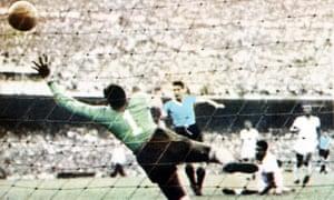 Moacyr Barbosa is beaten by Uruguay's Juan Schiaffino.