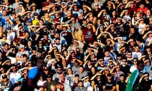 Burnley fans watch their team take on Aberdeen.