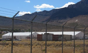 The new migrant shelter lies at the foothills of the Franklin Mountains.