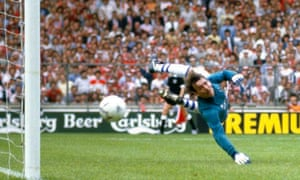 Everton goalkeeper Neville Southall is beaten by a shot from Norman Whiteside