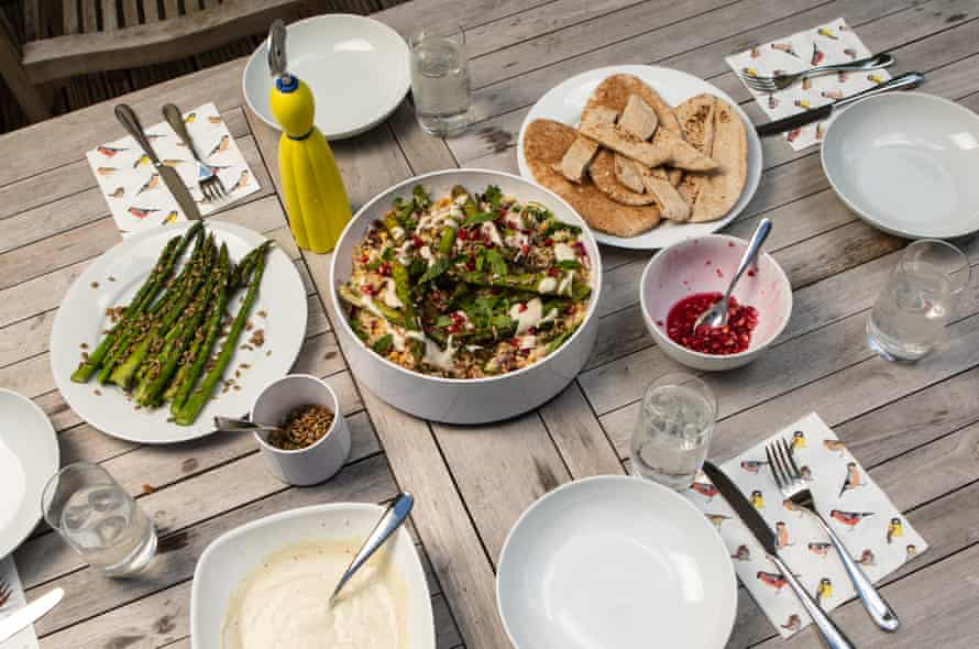 Chris and Tim ate asparagus and herb tabbouleh, made by Chris's partner, Charlotte Corney.