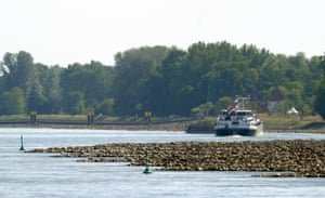 A barge travels on the Rhine river