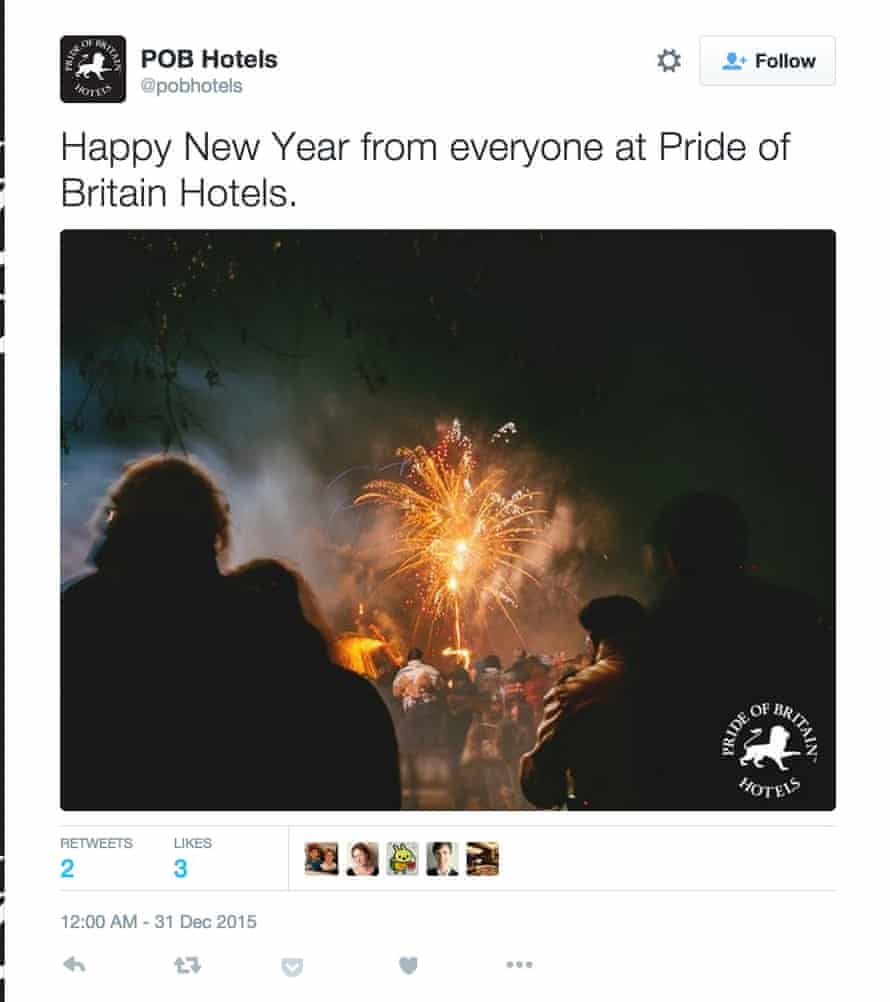 Pride of Britain hotels wish everyone a happy new year even though it isn't.