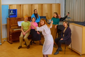 (Spawn pictured on top of the piano) Left to right: Roman Ole, Evelyn Saylor, Jules LaPlace, Holly Herndon, Josa Peit, Mathew Dryhurst and Albertine Sarges.