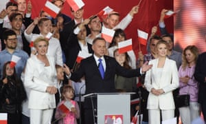 Andrzej Duda, the Law and Justice party presidential candidate, addresses his supporters in Pultusk