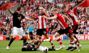 Southampton's Pierre-Emile Hojbjerg reacts after Manchester United's Mason Greenwood goes down in the penalty area.