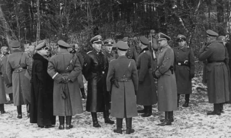 Otto Wächter, in black coat, centre, supervising an execution in Bochnia, December 1939.