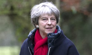 Theresa May attends a church service in Sonning, Berkshire, on 31 December.