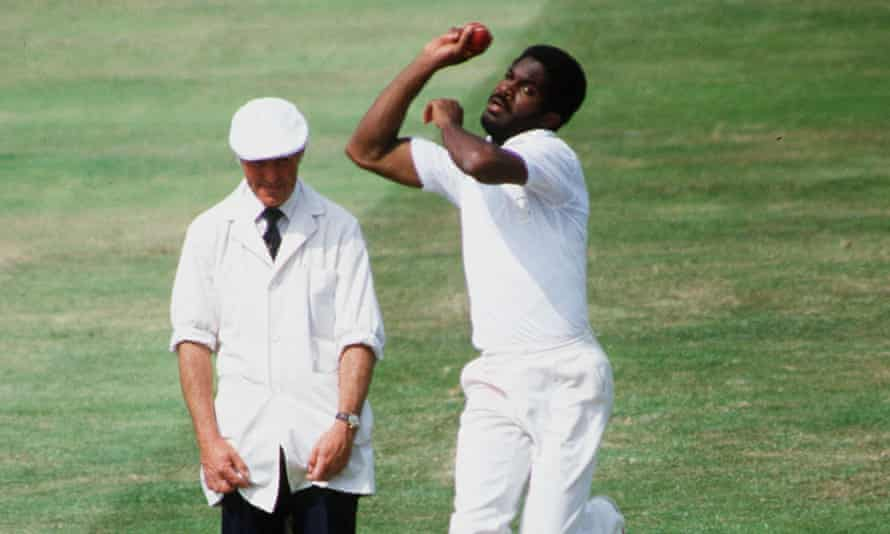 Michael Holding bowls for West Indies in 1984 during the first Test against England