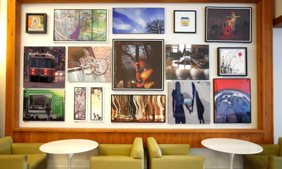 Art in the lobby of the Paintbox condominium building in Regent Park, Toronto.