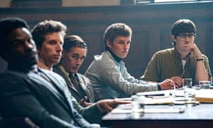 Yahya Abdul-Mateen II, Ben Shenkman, Mark Rylance, Eddie Redmayne and Alex Sharp in The Trial of the Chicago 7