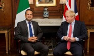 Boris Johnson (right) and Leo Varadkar at Thornton Manor hotel.