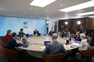 Boris Johnson chairing the opening G7 meeting.