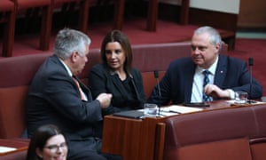Rex Patrick (left), Jacqui Lambie and Stirling Griff talk in the Senate on Tuesday. Griff wants the Coalition government to should dump its plan to repeal the medevac legislation.