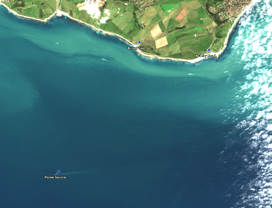 A large photo showing the plume picked up by satellite imagery off the Sussex coastline on Sunday morning