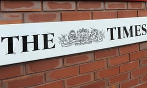 The Times logo on a wall