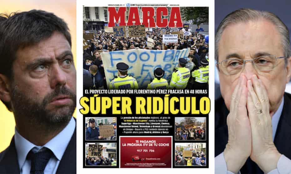 Andrea Agnelli (left), Florentino Pérez (right) and what Marca made of the whole Super League fiasco.