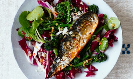 Thomasina Miers' recipe for Asian smoked mackerel salad with chilli dressing
