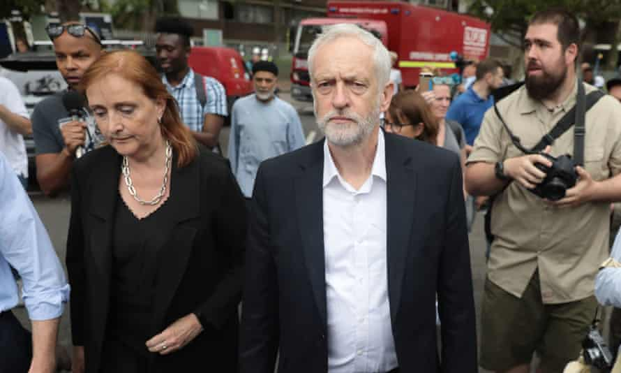 Dent Coad with Jeremy Corbyn visit the scene the day after the Grenfell Tower fire.
