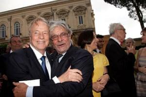 Director Franco Zeffirelli with actor Giancarlo Giannini