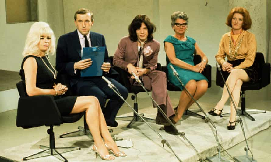 Audrey Slaughter, right, on Frost on Saturday, 1968. From left: Diana Dors, David Frost, Mick Jagger and Mary Whitehouse.
