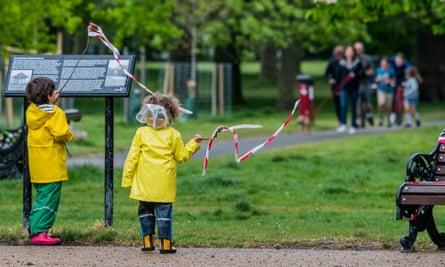 Children on Clapham Common in London, 29 April 2020