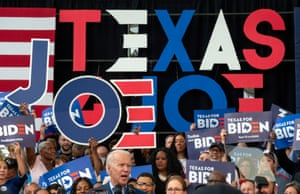 Joe Biden speaks to Texas supporters at a campaign rally in March.