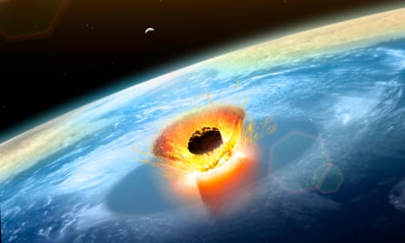 Illustration of a large asteroid colliding with Earth on the Yucatan Peninsula in (what is modern day) Mexico.