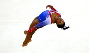 Simone Biles en route to gold – her fourth of the Rio Olympics – in the women's floor event final