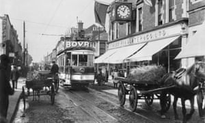 Electric Tram in Dublin, c1906.A street scene showing an electric tram and horse drawn wagons. The Town, Dun Laoghaire, Dublin. (Photo by Past Pix/SSPL/Getty Images)
