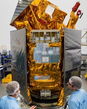 The Sentinel-5P satellite in the cleanroom at Airbus Defence and Space, Stevenage, UK.