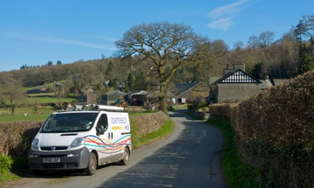 Openreach van in the countryside
