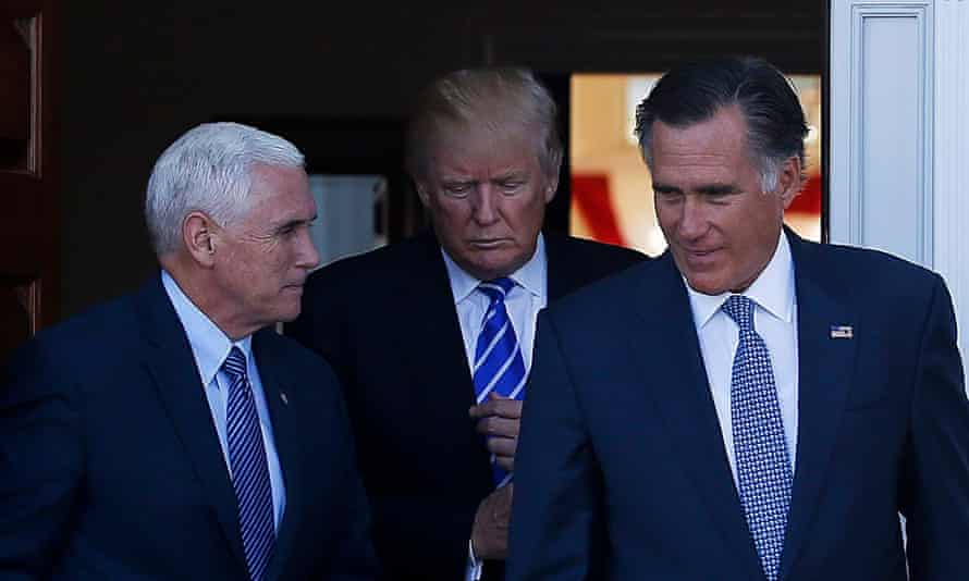 US president-elect Donald Trump, vice-president-elect Mike Pence and Mitt Romney, a possible contender for secretary of state.