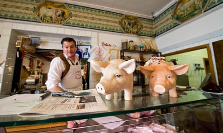 Dario Cecchini butcher, in his shop in Panzano, Chianti, Italy.