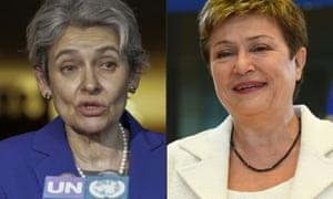 Irina Bokova (left) came sixth in a UN security council ballot. Bulgaria now favours Kristalina Georgieva (right).